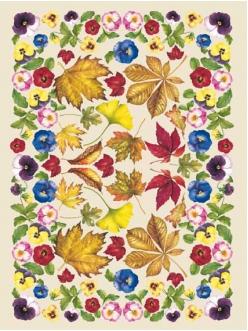 Декупажная карта Calambour EASY 051 Фиалки и осенние листья, 50х70 см