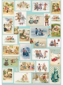 Декупажная карта Calambour EASY 178 Старые открытки с детьми, 50х70 см