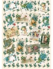 """Декупажная карта Calambour EASY 181 """"Голубые цветы и открытки"""", 50х70 см"""