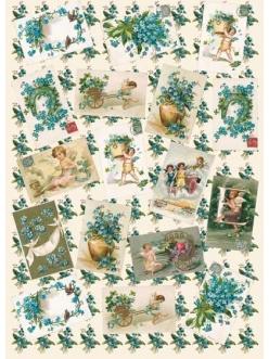 Декупажная карта Calambour EASY 181 Голубые цветы и открытки, 50х70 см