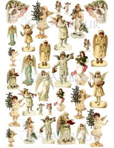 """Декупажная карта Calambour EASY 197 """"Рождественские ангелы"""", 50х70 см"""