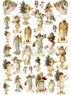 Декупажная карта Calambour EASY 197 Рождественские ангелы, 50х70 см