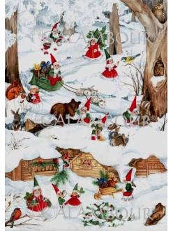 Декупажная карта Calambour EASY 198 Рождественские гномы, 50х70 см