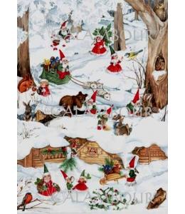"""Декупажная карта Calambour EASY 198 """"Рождественские гномы"""", 50х70 см"""