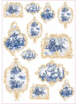Декупажная карта Calambour ENS 04 Синий Китай, миниатюры в рамочках, 50х70 см