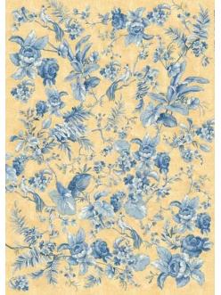 Декупажная карта Calambour ENS 05 Голубые розы, китайский орнамент, 50х70 см
