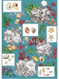 Декупажная карта Calambour ENS 12 Море, морские обитатели, 50х70 см