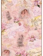 Рисовая бумага для декупажа Calambour EXCR 02, Ангелы, открытки, тексты, 35х50 см