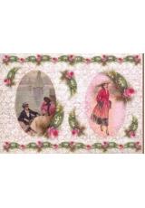 Рисовая бумага для декупажа Calambour EXCR 04, Девушка, влюбленные, тексты, 35х50 см