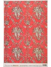 Рисовая бумага для декупажа Calambour EXCR 09, Ангелы на красном, 35х50 см
