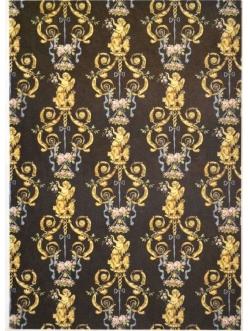 Рисовая бумага для декупажа Золотые ангелы на черном, орнамент, 35х50 см