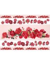 Рисовая бумага для декупажа Calambour EXCR 262, Полосы из красных роз, 35х50 см