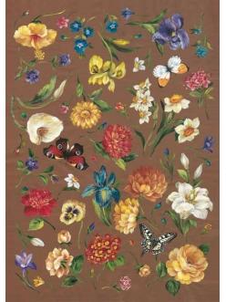 """Декупажная карта Calambour FIAM 12 """"Весенние цветы и бабочки"""" (фломандская живопись), 50х70 см"""