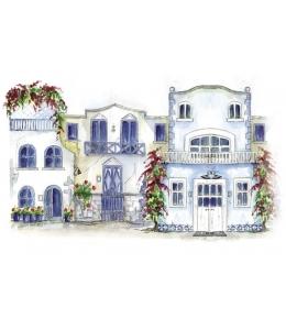 """Рисовая бумага для декупажа Calambour LA 02 """"Голубой дом"""", 35х50 см, 20 г/ м2"""