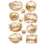 """Рисовая бумага для декупажа Calambour Pau-015 """"Пейзажи в рамочках"""", 35х50 см"""