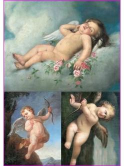 Рисовая бумага для декупажа Calambour Pau-017, Ангелы, классический рисунок, 35х50 см