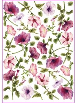 Рисовая бумага для декупажа Вьюнок розовый, 35х50 см, Calambour Pau-022
