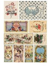 """Рисовая бумага для декупажа Calambour Pau-027 """"Этикетки парфюмерные Art Nouveau"""", 35х50 см"""