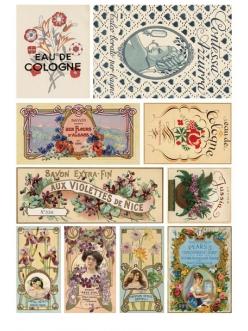 Рисовая бумага для декупажа Calambour Pau-027 Этикетки парфюмерные Art Nouveau, 35х50 см