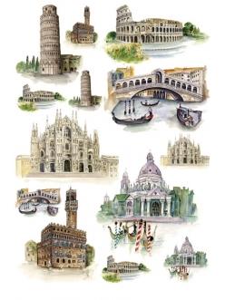 Рисовая бумага для декупажа Calambour Pau-028 Италия, исторические памятники, 35х50 см
