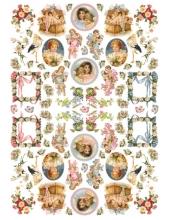 """Рисовая бумага для декупажа Calambour Pau-032 """"Винтажные дети и ангелы"""", 35х50 см"""