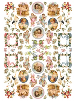 Рисовая бумага для декупажа Calambour День рождения, винтажные дети и ангелы, 35х50 см