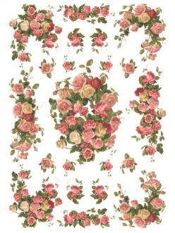 Рисовая бумага для декупажа Чайные розы, 35х50 см