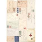 """Рисовая бумага для декупажа Calambour Pau-035 """"Старые конверты"""", 35х50 см"""