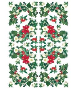 """Рисовая бумага для декупажа Calambour Pau-038, """"Новогодние гирлянды"""", 35х50 см"""