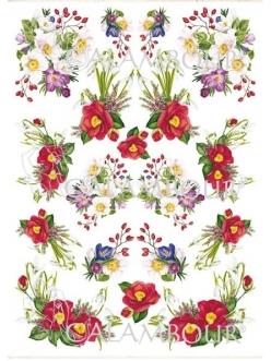 Рисовая бумага для декупажа Calambour Весение цветы, 35х50 см