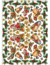 "Рисовая бумага для декупажа Calambour Pau-041 ""Снеговики и Дед Мороз"", 35х50 см"