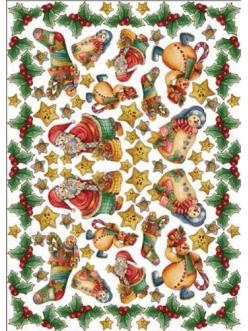 Рисовая бумага для декупажа Снеговики и Дед Мороз, Calambour Pau-041, 35х50 см