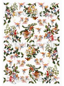 """Рисовая бумага для декупажа Calambour Pau-044, """"Рождественские феи и гномы"""", 35х50 см"""