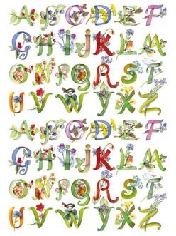 Рисовая бумага для декупажа Calambour Pau-045 Алфавит с цветами, 35х50 см