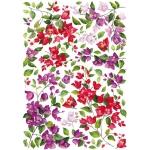 """Рисовая бумага для декупажа Calambour Pau-050 """"Красные и сиреневые цветы"""", 35х50 см, 20г/м2"""