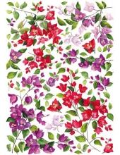 """Рисовая бумага для декупажа Calambour Pau-050 """"Красные и сиреневые цветы"""", 35х50 см"""