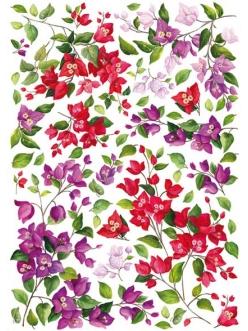Рисовая бумага для декупажа Calambour Pau-050 Красные и сиреневые цветы, 35х50 см