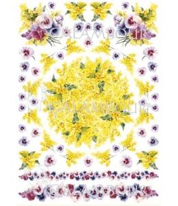 """Рисовая бумага для декупажа Calambour Pau-054 """"Мимоза и анютины глазки"""", 35х50 см, 20 г/ м2"""
