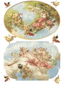 Рисовая бумага для декупажа Ангелы и девы, классика, 35х50 см, Calambour Pau-058
