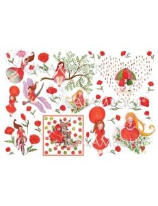 """Рисовая бумага для декупажа Calambour Pau-072 """"Красная шапочка"""", 35х50 см, 20 г/ м2"""