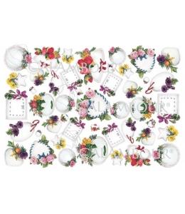 """Рисовая бумага для декупажа Calambour Pau-073 """"Рамочки с цветами"""", 35х50 см"""