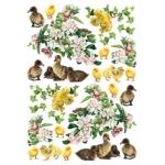 """Рисовая бумага для декупажа Calambour Pau-074, """"Цветы, утята, цыплята"""", 35х50 см, 20г/м2"""