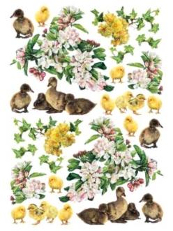 Рисовая бумага для декупажа Цветы, утята и цыплята, 35х50 см, Calambour Pau-074