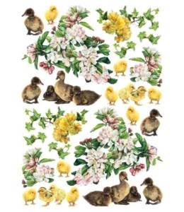 "Рисовая бумага для декупажа Calambour Pau-074 ""Цветы, утята и цыплята"", 35х50 см"