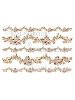 Рисовая бумага для декупажа Гирлянды из роз, 35х50 см, Calambour Pau-075