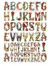 """Рисовая бумага для декупажа Calambour Pau-077 """"Алфавит из цветов, винтаж"""", 35х50 см"""