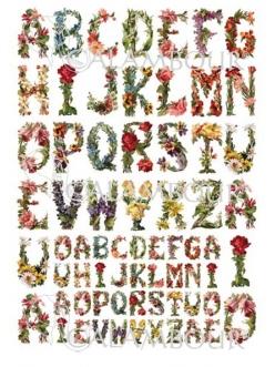 Рисовая бумага для декупажа Calambour Pau-077 Алфавит из цветов, винтаж, 35х50 см