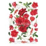 """Рисовая бумага для декупажа Calambour Pau-079, """"Красные розы и бутоны"""", 35х50 см"""