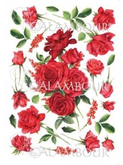Рисовая бумага для декупажа Красные розы и бутоны, 35х50 см, Calambour Pau-079