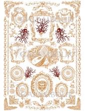 """Рисовая бумага для декупажа з золотом Calambour Pau-081 """"Медальоны и цепи"""", 35х50 см, 20 г/ м2"""